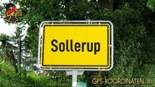 Ortseingangsschilder von Sollerup {von GPS-Koordinaten|mit GPS-Koordinaten.com|und Breiten- und Längengrad
