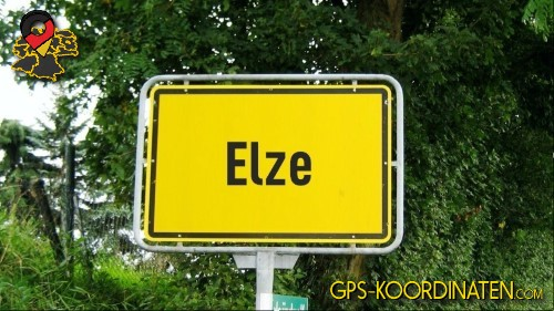 Ortseingangsschilder von Elze {von GPS-Koordinaten|mit GPS-Koordinaten.com|und Breiten- und Längengrad