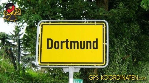 Einfahrtsschild Dortmund {von GPS-Koordinaten|mit GPS-Koordinaten.com|und Breiten- und Längengrad