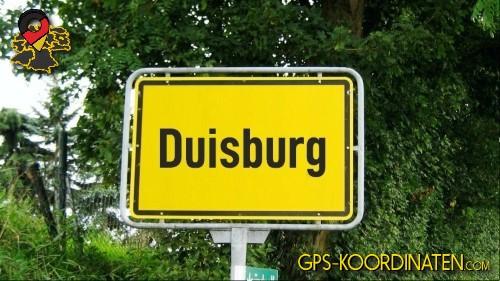 Einfahrtsschild Duisburg {von GPS-Koordinaten|mit GPS-Koordinaten.com|und Breiten- und Längengrad
