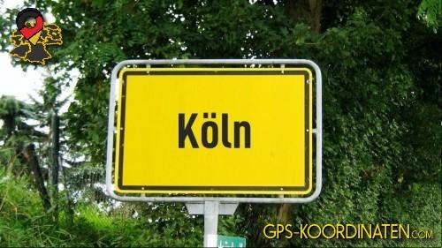 Einfahrtsschild Köln {von GPS-Koordinaten|mit GPS-Koordinaten.com|und Breiten- und Längengrad