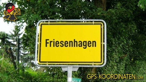Einfahrtsschild Friesenhagen {von GPS-Koordinaten mit GPS-Koordinaten.com und Breiten- und Längengrad