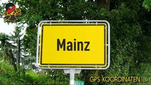 Einfahrtsschild Mainz {von GPS-Koordinaten|mit GPS-Koordinaten.com|und Breiten- und Längengrad