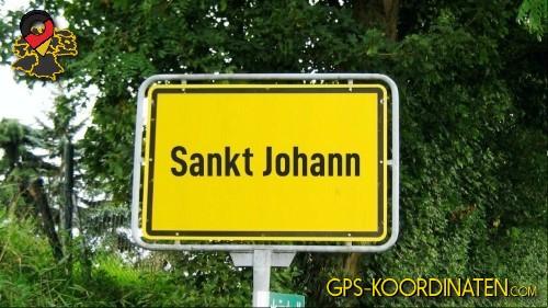Einfahrtsschild Sankt Johann {von GPS-Koordinaten mit GPS-Koordinaten.com und Breiten- und Längengrad