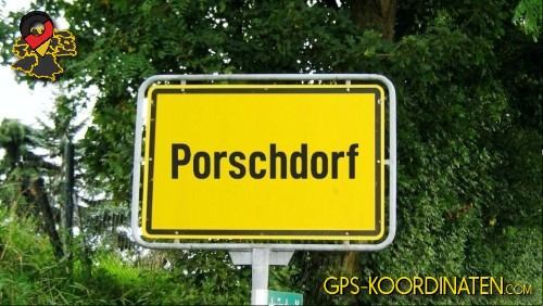 Ortseingangsschilder von Porschdorf {von GPS-Koordinaten|mit GPS-Koordinaten.com|und Breiten- und Längengrad